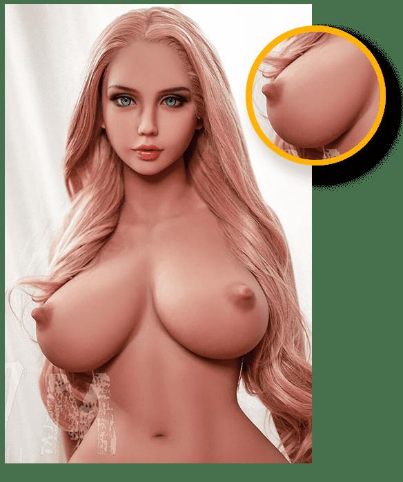 Real Doll mit bunten Haaren Brust-Details
