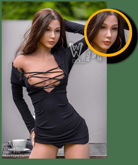 Brünette-Sex-Dolls-Gesicht-Details